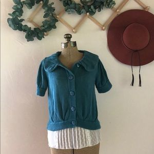 Fever | Teal Short Sleeve Button Up Sweater | S